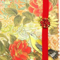 ブローチミニノート 花と鳥